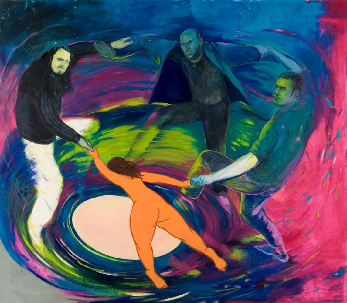 """drei Männer tanzen einen Reigen mit einer Figur aus Matisse´s Bild """"Der Tanz"""""""