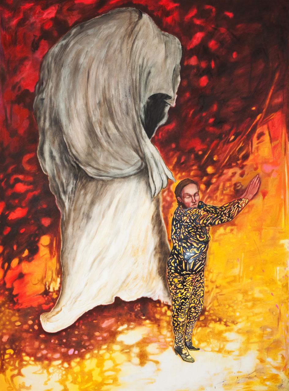 Frau im Catsuit im Wildkatzenmotiv dahinter ein Goya-artiges Monster